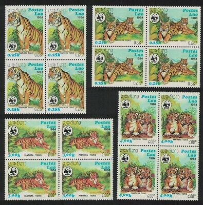 Laos WWF Tiger 4v Blocks of 4 MNH SG#704-707 SC#517-520 MI#706-709 CV�40+