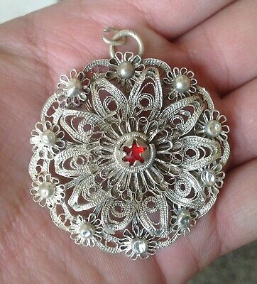 Antique Bulgaria Revival Traditional Folk Ethnic Silver Plated Pendant Filigree