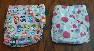 LBB reusable adjustable snap cloth diapers with inserts set of 2 polka dots owls