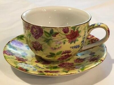 Formalities Yellow with Burgundy Flowers Chintz Tea Cup and Saucer