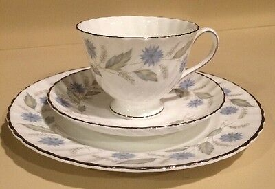 Vintage Royal Adderley Lorraine Trio Blue Green Floral Tea Cup Saucer And Plate