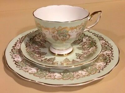 Royal Standard Mint Green w/ Gold Grapevine Design - Tea Cup Saucer and Plate