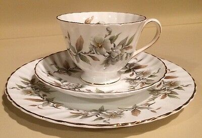 Vintage Royal Adderley Arcadia Trio White Floral Tea Cup Saucer And Plate