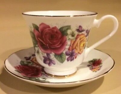 Connoisseur Burgundy and Yellow Rose Floral Tea Cup and Saucer