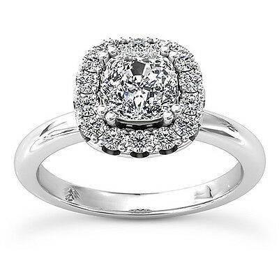 Halo Classic 1.5 Ct Cushion Cut Diamond Engagement Ring White Gold VS2 H
