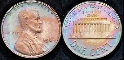 Great Toning 1960 Sm Date Proof Red Brown , Toned Memorial Cent 001337