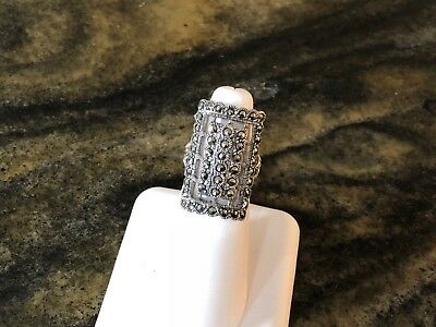 Beautiful Deco Style Openwork Design Sterling Silver Ring With Marcasites Sz 7