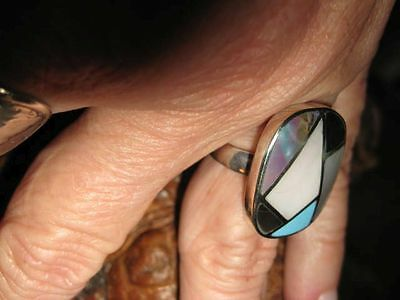 Vtg Robbins Egg Blue Turquoise Ring MOP Sterling Silver Inlay Multi Stone Sz 6.5