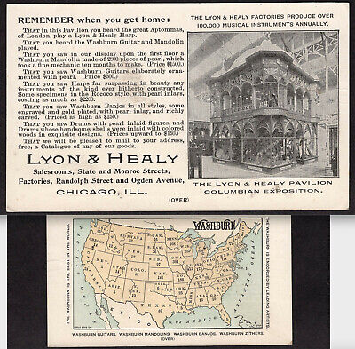 Washburn Guitar 1893 Banjo Chicago Expo Exhibit Lyon & Healy Instrument Map Card