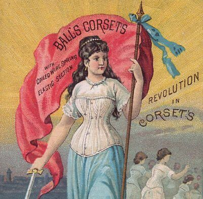 Victorian Corset 1800's Lady Warrior Sword Revolution old Advertising Trade Card