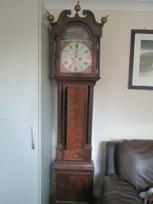 scottish long case grandfather clock flame  mahogany 8 day
