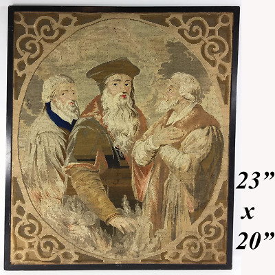 """Antique Victorian Era Needlepoint Tapestry Panel, The Philosophers, No Frame 23"""""""
