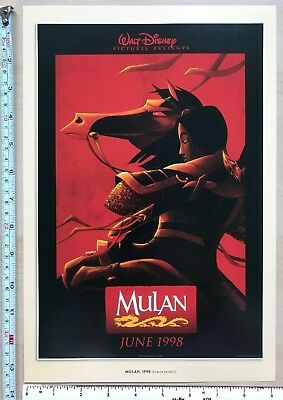 "Disney colour cartoon picture print, film poster: Mulan 1998: 13.5 x 9"":  NEW"