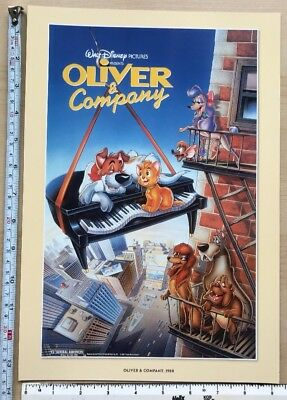 Disney cartoon picture, print, film poster: Oliver & Company: 1988 cat, dogs NEW