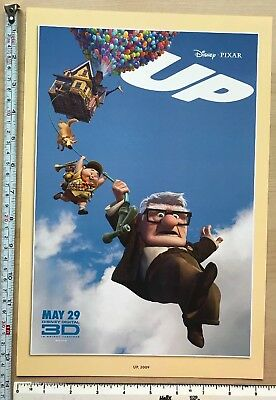 "Disney, Pixar cartoon picture print, film poster: 'UP' 2009 13.5 x 9"" lovely NEW"