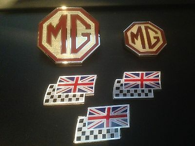 MG ZT badge upgrade front grille, rear & 3 chequerred and union jack flags