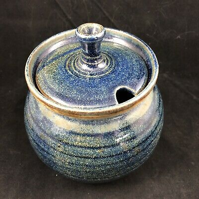Handcrafted Stoneware Pottery Artist Signed Honey Pot Jar With Lid