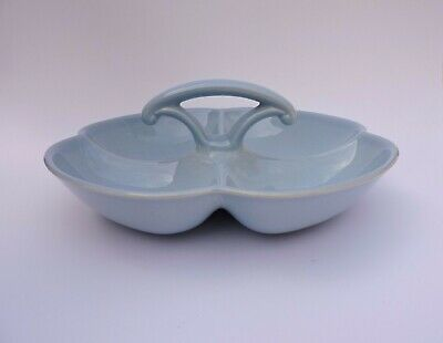 Luray Pastels Blue 4 Part Relish Serving Dish Bowl with Handle Taylor Smith MCM