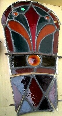 Rare Antique Victorian Stained Glass Window W/jewels Bull's Eye Estate # 338