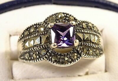Beautiful Vintage Victorian Style Amethyst Marcasite Sterling Silver Sz 8 Ring
