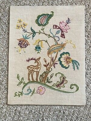 Vintage Hand Stitched Jacobean Crewel Embroidery Tree of Life Flowers Deer