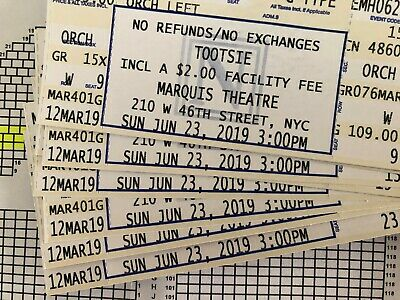 Tootsie Musical Broadway Orchestra tickets - Sunday matinee June 23 3PM Marquis