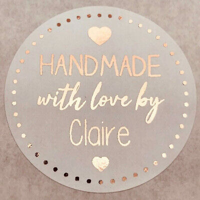 45Mm Personalised Handmade With Love Rose Gold Foil White Round Labels Stickers