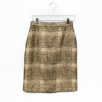 f0a0df3e21 J Crew Collection Women's Wool Plaid Pencil Skirt Gold Shimmer Size 2 XS S