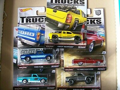 HOT WHEELS Car Culture Set Trucks, Chevy Ford Datsun/Nissan Subaru Real Riders