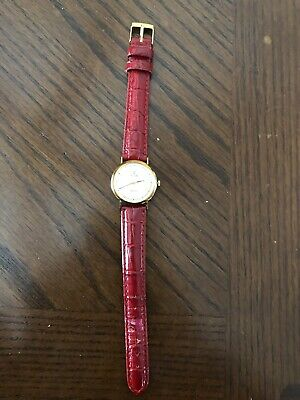 Vicence Milor Italy 585 14k Yellow Gold Ladies Watch: Red Leather Band - Nice