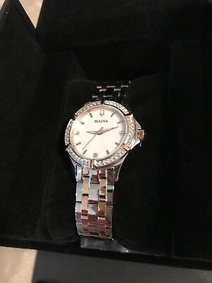 Bulova DIAMONDS Two-Tone Crystal Accent  Stainless Steel  Womens Watch 98r271
