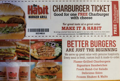 (6) The Habit Burger Grill Free Charburger