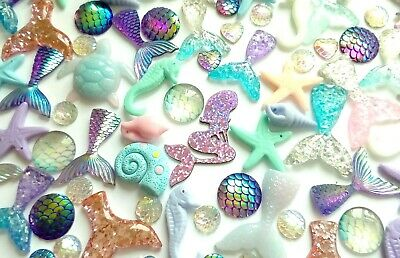 Mermaid cabochon and charm set, decoden kawaii, slime making, craft supplies