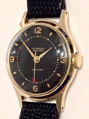 RARE Ingersoll Mercury Gold Plated Mens Watch ft Red Second Pointer & Black Dial