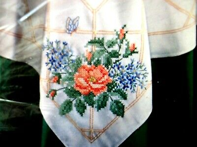 """Bucilla Stamped Embroidery Table Topper """"ROSE TRELLIS"""" 40"""" x 40"""""""