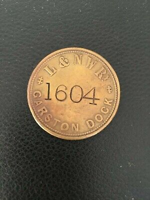London and North Western  Railway Paycheck Token - GARSTON DOCK LIVERPOOL