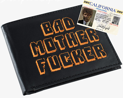 Black & Orange Embroidered BMF (Bad Mother Fu**er) Leather Wallet With Jules ID