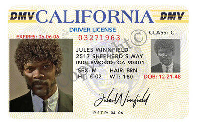 Jules Winnfield Novelty ID Card Driver License From Movie Pulp Fiction