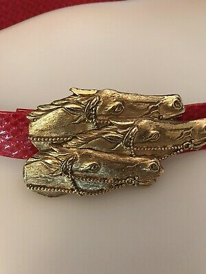 Vintage Douglas Paquette Gold Tone Western Three Horses Belt Buckle And Red Belt