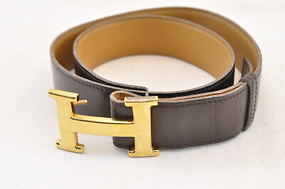 HERMES Leather Belt Brown Auth 6184