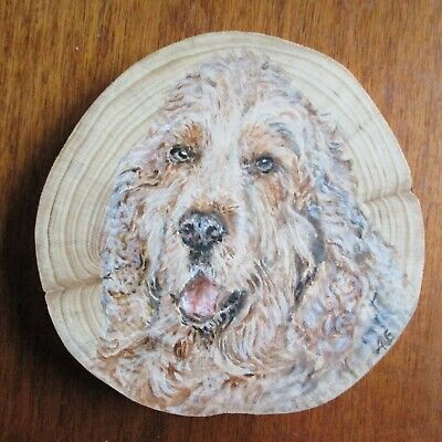 Larger Original Acrylic Pet Portrait on Wood from your photo + card -great gift!