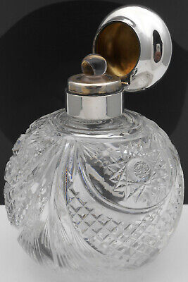 Beautiful Large Globe Shape Cut Glass Perfume Bottle - 1917 Sterling Silver