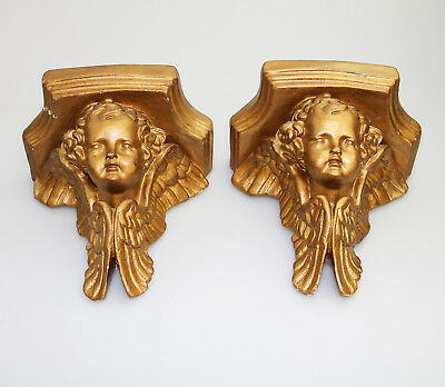 Antique Vintage pair of gilded plaster Corbel Shelf Brackets C.1960