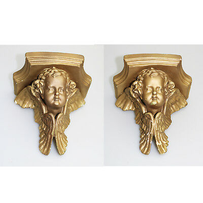 Antique Vintage pair of gilded plaster Corbel Shelf Brackets 2 C.1960+