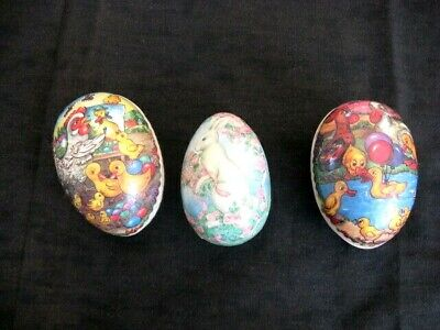 3 Vintage Decoupage  W. Germany Paper Mache Easter Eggs -