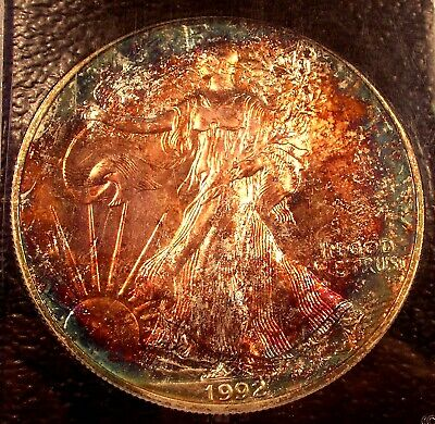 1992 American Silver Eagle  Gem+  Bu   Certifiable With Colorful Original Toning
