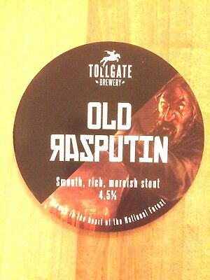 Old Rasputin Russian Real Ale Beer Pump Clip: Tollgate Brewery Ashby Derbyshire