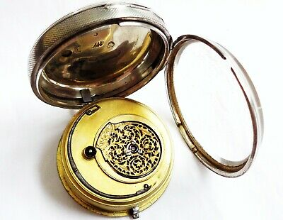 Antique Sterling Silver Verge Fusee Men's Pocket watch, needs attention 128grams