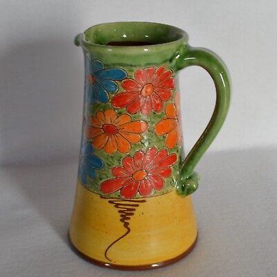 Hand Throw Pottery Art Daisy Flowers Water Pitcher Jug 48 oz. Keil French Signed
