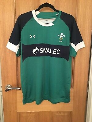 Mens Under Armour WRU Green Rugby Shirt Size M